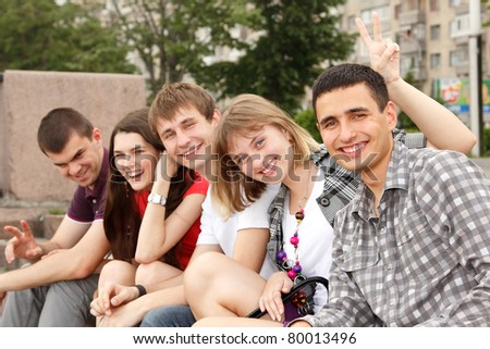students happy friends group have fun outdoor - stock photo
