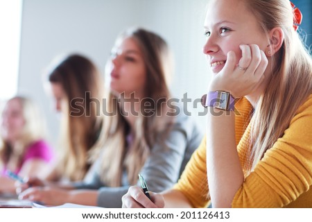 Students in class (color toned image) - stock photo