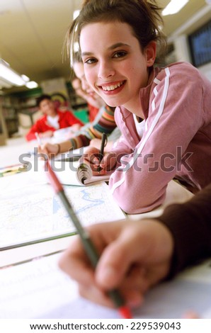 Students in class room - stock photo