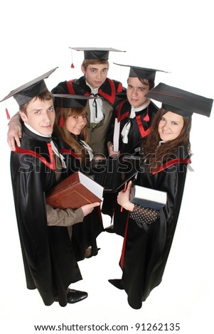 students in gowns for exams - stock photo