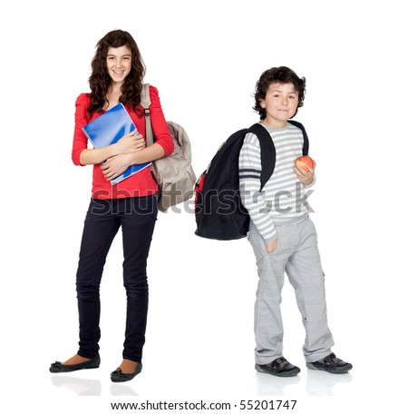Students of different ages with a backpack and folder isolated on white - stock photo