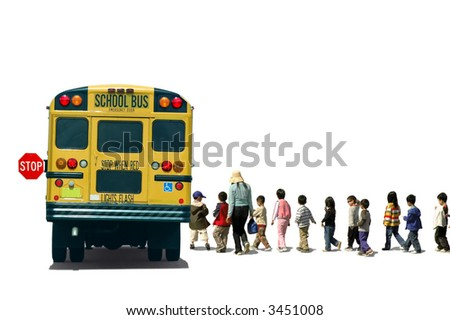 Students (school children/pupils) and a teacher boarding a school bus - stock photo