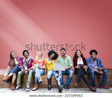 Students Sitting Learning Education Cheerful Social Media - stock photo