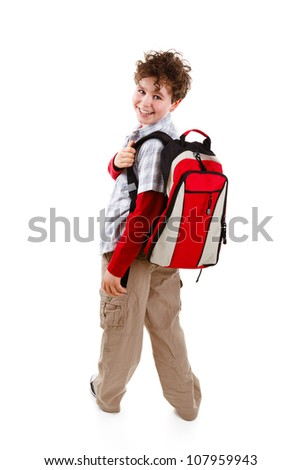 Students with backpack isolated on white background - stock photo