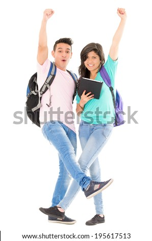 students with tablet and backpack white background - stock photo