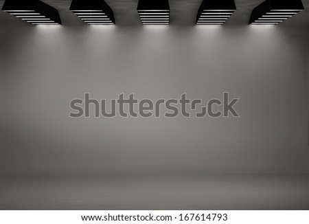 Studio background with five softboxes - stock photo