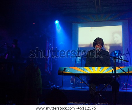 STUDIO CITY, CA - JAN 28: Tim Piper performs as John Lennon at The Platinum theatre on January 28, 2009 in Studio City, California. - stock photo