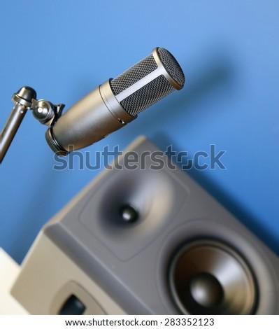 Studio equipment,microphone - stock photo