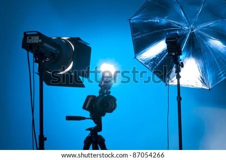 Studio equipment used by professional photographers - stock photo