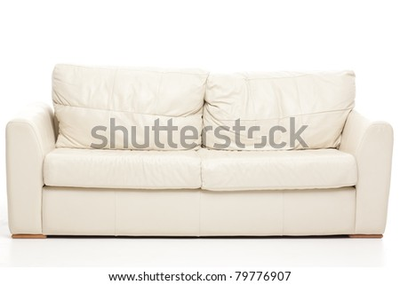 studio image modern white couch - stock photo