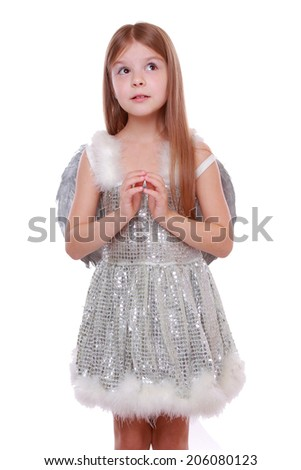 Studio image of silver little angel isolated on Christmas/Little fairy angel with magic wand laughing - isolated with copy space - stock photo