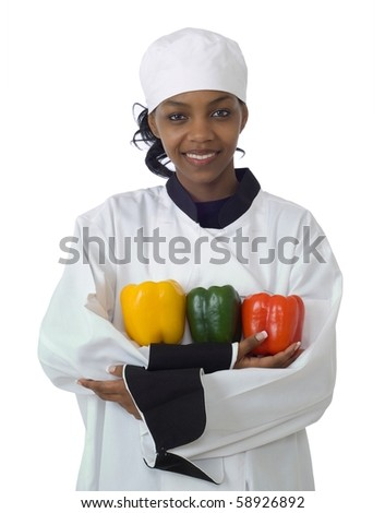 Studio isolated woman female chef with red and yellow peppers on white - stock photo