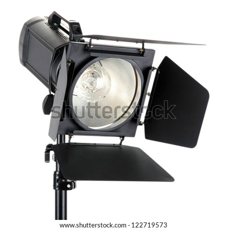 Studio lighting on white background close-up - stock photo