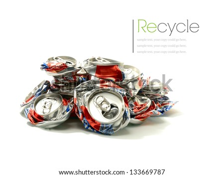 Studio macro of crushed aluminium drink cans with soft shadows on a white surface. Copy space. - stock photo