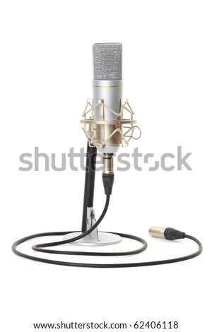 Studio microphone on stand isolated on white background - stock photo