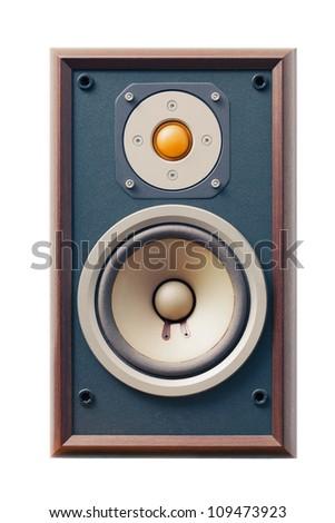 studio monitor speaker isolated on white - stock photo
