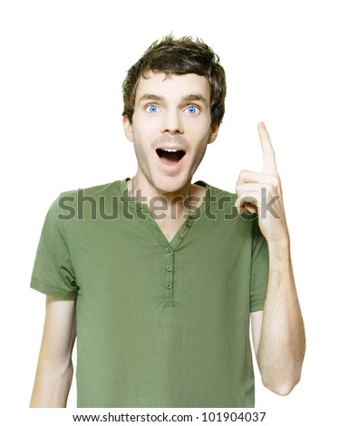 Studio Photo Of A Excited Untidy Man In Casual Clothes Pointing Up To Blank Copyspace With An Idea Of Genius And Inspiration, Isolated On White Background - stock photo