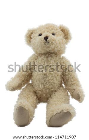studio photo of brown light bear toy on white background - stock photo