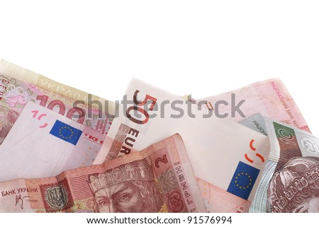 studio photo of group banknotes of different countries around the world over white background with some place to put your special text/money of different countries - stock photo