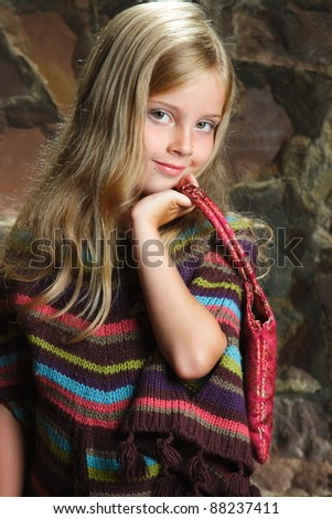 studio photography beautiful little girls - stock photo