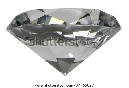 studio photography of a clear glass diamond isolated on white - stock photo