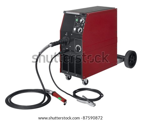 studio photography of a red and black welding apparatus in white back - stock photo