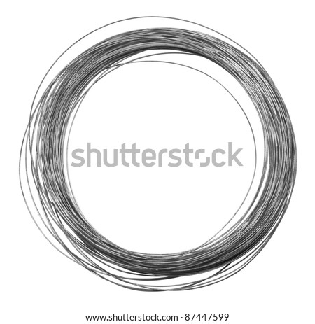 studio photography of a roll of metal wire isolated on white - stock photo