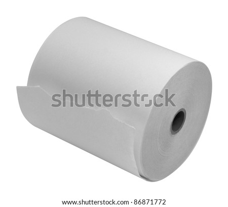 studio photography of a white paper roll isolated on white with clipping path - stock photo