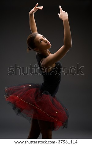 Studio picture from a classical ballerina - stock photo