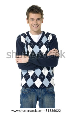 studio picture of a young man - stock photo