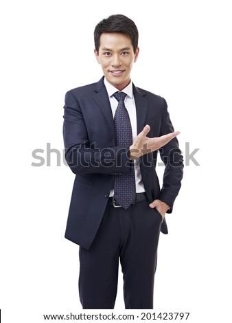 studio portrait asian businessman, isolated on white. - stock photo