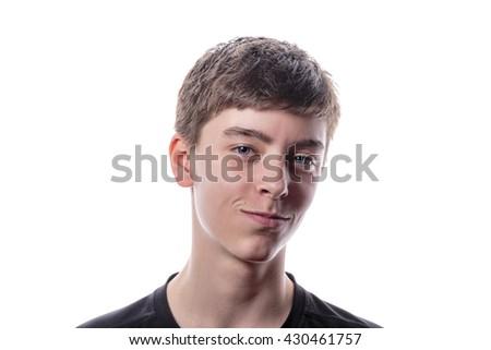 studio portrait of a beautiful teenage boy - stock photo