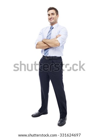 studio portrait of a caucasian corporate executive, full length, isolated on white background. - stock photo