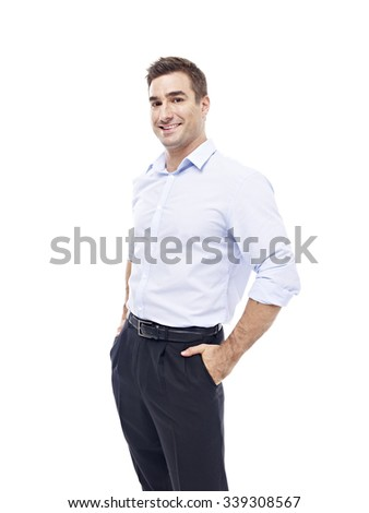 studio portrait of a caucasian corporate executive, hands in pockets, side view, isolated on white background. - stock photo