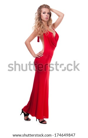 studio portrait of a cute adult girl in evening dress - stock photo