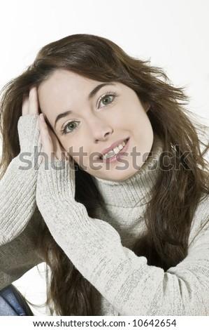 studio portrait of a expressive caucasian beautiful charming woman - stock photo