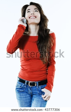 studio portrait of a expressive caucasian beautiful charming woman calling on the phone - stock photo