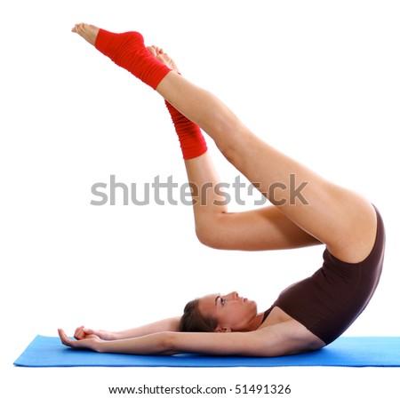 Studio portrait of a fitness girl - stock photo