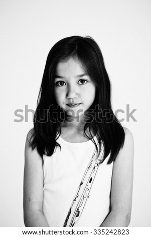 Studio portrait of a girl - stock photo