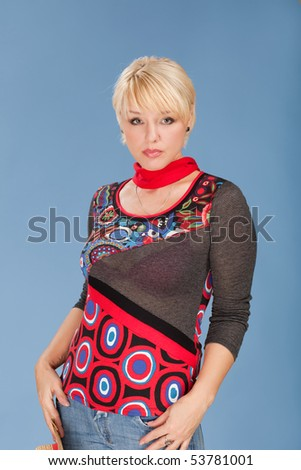 Studio portrait of attractive adult woman - stock photo
