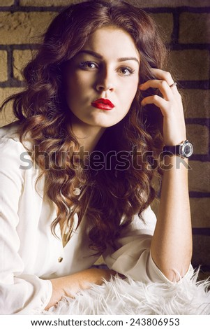 Studio portrait of attractive girl - stock photo