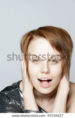 studio portrait of attractive young woman - stock photo