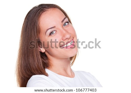 studio portrait of beautiful smiley woman. isolated on white background - stock photo