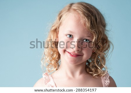 Studio Portrait of cute little girl - stock photo