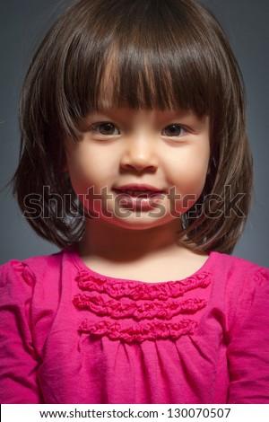 Studio Portrait of little girl - stock photo