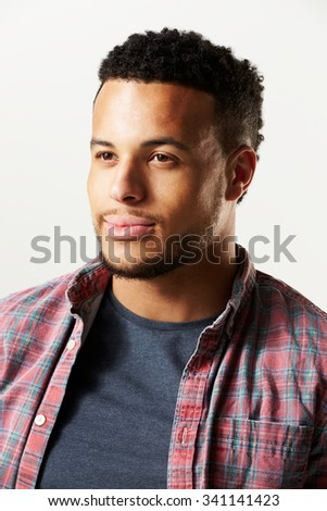 Studio Portrait Of Man Against White Background - stock photo