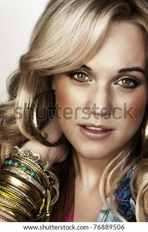 studio portrait of sexy woman (25-30) - stock photo