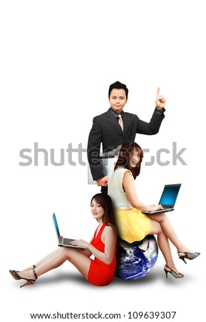 Studio portrait of two lady and business man : Elements of this image furnished by NASA - stock photo