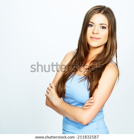 studio portrait of young woman isolated . white background . long hair . - stock photo