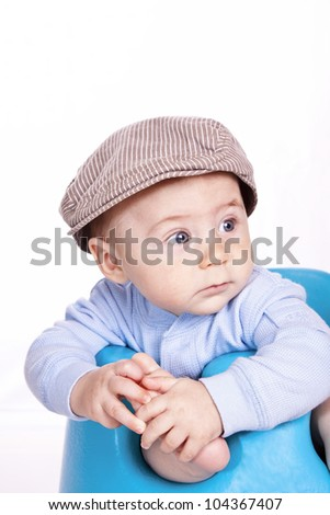 studio shoot baby in cute hat - stock photo